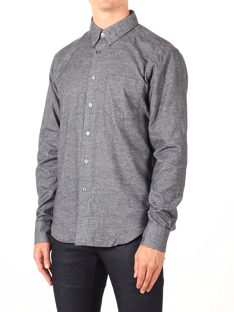 NAKED AND FAMOUS REGULAR SHIRT IN GREY SHAGGY SOFT MIX TWILL  - 3