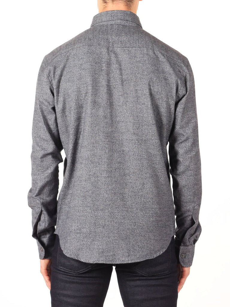 NAKED AND FAMOUS REGULAR SHIRT IN GREY SHAGGY SOFT MIX TWILL  - 4