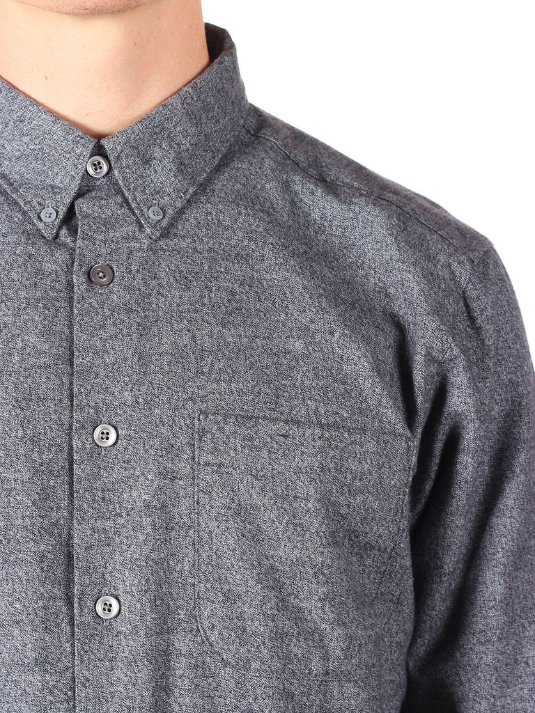NAKED AND FAMOUS REGULAR SHIRT IN GREY SHAGGY SOFT MIX TWILL  - 5