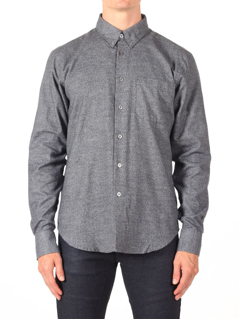 NAKED AND FAMOUS REGULAR SHIRT IN GREY SHAGGY SOFT MIX TWILL  - 2