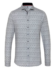 DESOTO LONG-SLEEVE MUSTACHE MAN PRINT SHIRT WITH SHARK COLLAR IN GREY