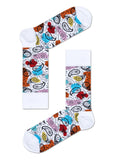HS ABSTRACT PAISLEY SOCK IN WHITE