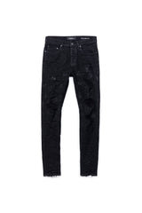 PURPLE BRAND P001 LOW-RISE SLIM FIT JEANS IN BLACK OIL SPILL