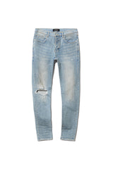 PURPLE BRAND P001 LOW-RISE SLIM FIT JEANS IN LIGHT DIRTY WAX
