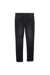 PURPLE BRAND P002 SLIM DROPPED-FIT JEANS IN BLACK REPAIR