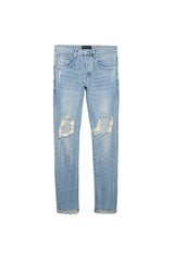 PURPLE BRAND P002 MID-RISE WITH TAPERED LEG JEANS IN LIGHT INDIGO BLOWOUT