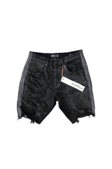 PURPLE BRAND P020 LOW-RISE SLIM FIT BLACK STRIPE PAINT SHORT