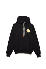PURPLE BRAND P401 RELAXED OVERSIZED FLOWER HOODIE IN BLACK