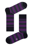 HS STRIPE SOCK IN GREY PURPLE