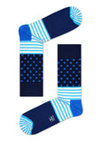 HS STRIPE DOT SOCK IN BLUE