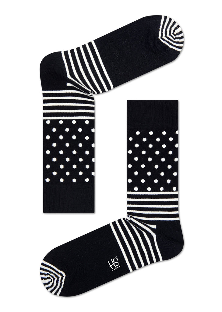 HS STRIPE DOT SOCK IN BLACK
