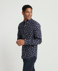 SUPERDRY CLASSIC SHOREDITCH PRINT LONG-SLEEVE SHIRT IN NAVY PAISLEY