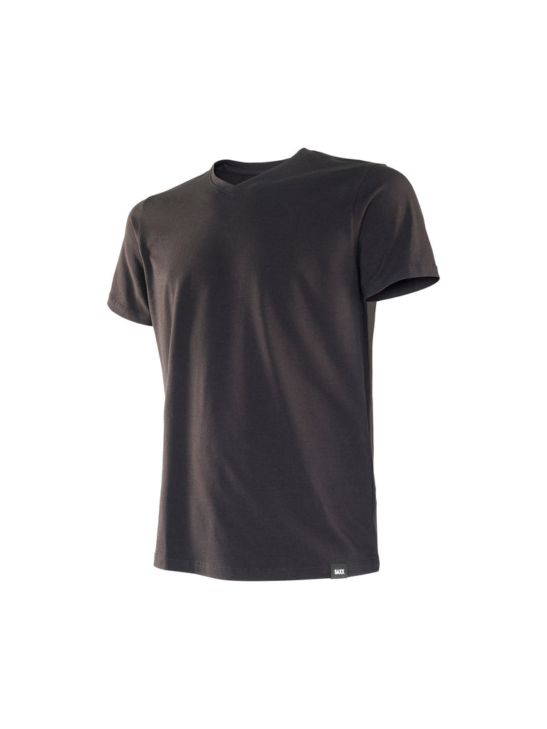 SAXX PIMA COTTON V-NECK T-SHIRT IN BLACK