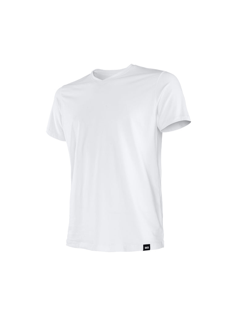 SAXX PIMA COTTON V-NECK T-SHIRT IN WHITE