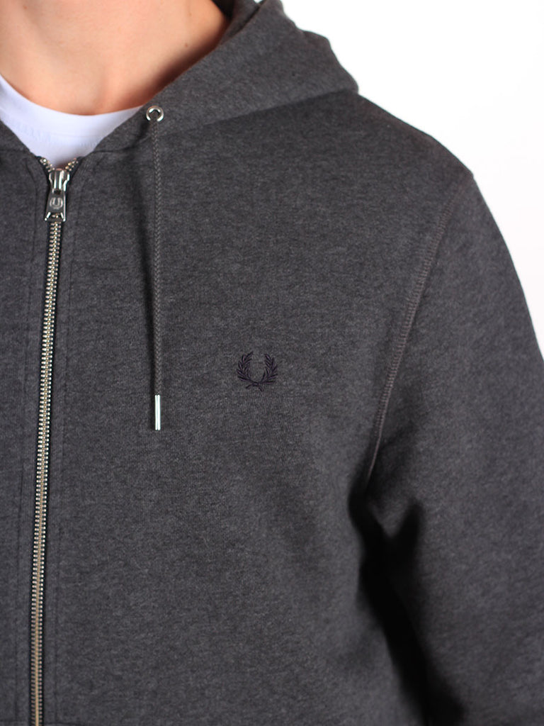 FRED PERRY LOOPBACK HOODED SWEATSHIRT IN GREY MARL  - 5