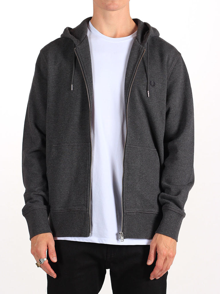 FRED PERRY LOOPBACK HOODED SWEATSHIRT IN GREY MARL  - 1