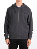 FRED PERRY LOOPBACK HOODED SWEATSHIRT IN GREY MARL  - 2