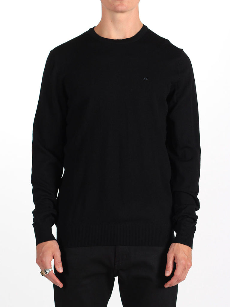 Shop mens knitwear and the best in mens fall fashion at BoysCo J Lindeberg Lyle True Merino Sweater in Black Front