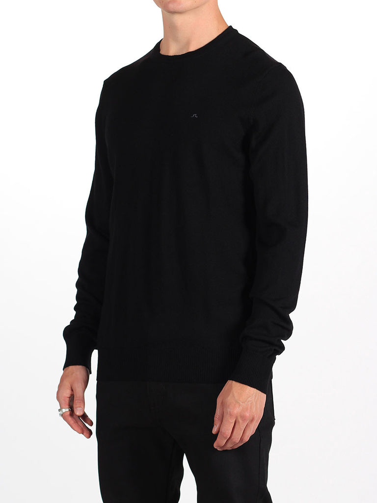 Shop mens knitwear and the best in mens fall fashion at BoysCo J Lindeberg Lyle True Merino Sweater in Black Side