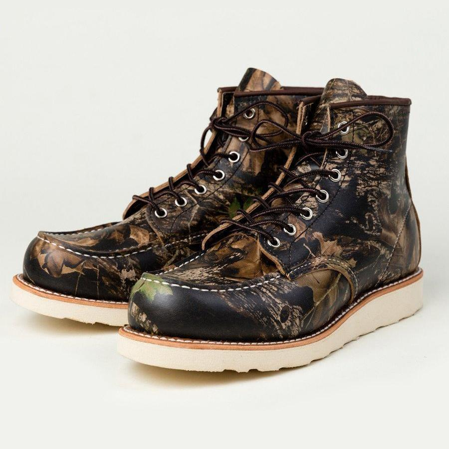 The Best Online Canadian Shoe Stores Mens Fall Fashion Mens Style Redwing Moc Toe Boots in Mossy Oak Camouflage Front