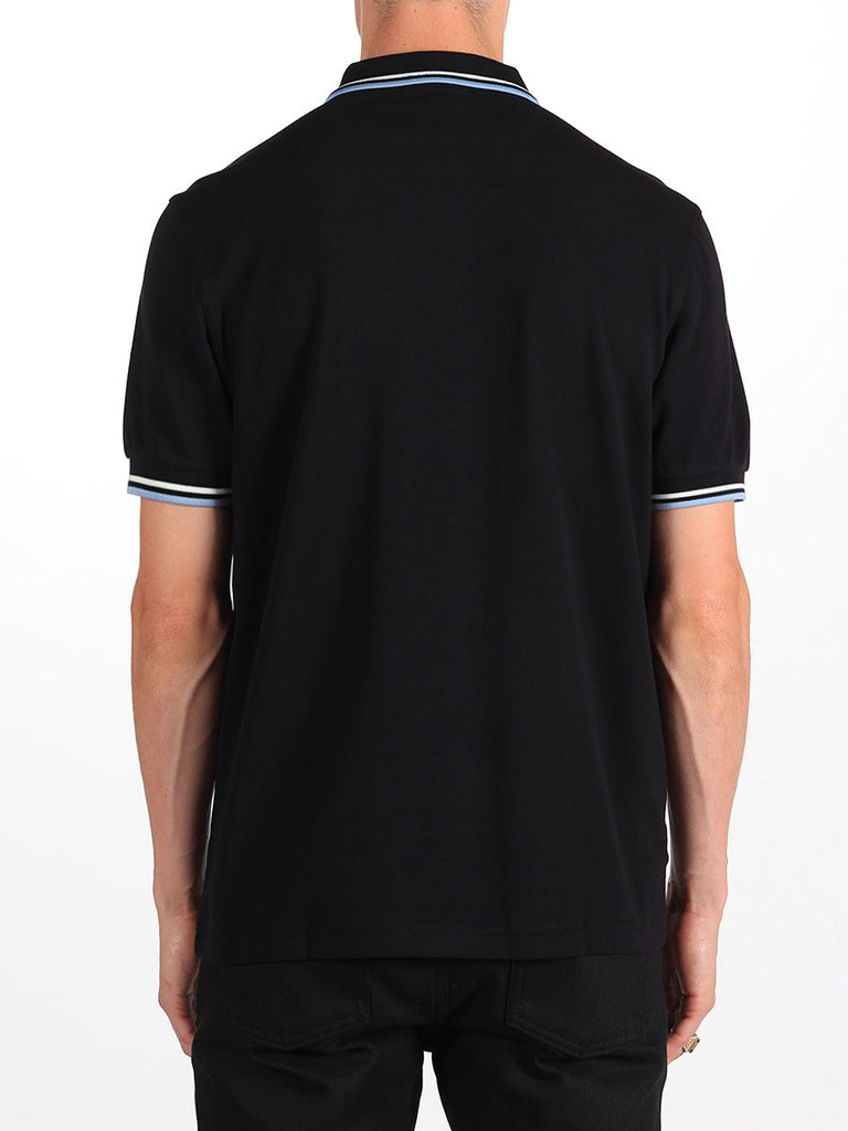The Best Streetwear Brands Urban Style and Mens Fashion Fred perry Twin Tipped Polo Shirt in Black and Glacier Back