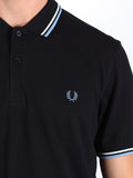 The Best Streetwear Brands Urban Style and Mens Fashion Fred perry Twin Tipped Polo Shirt in Black and Glacier Detail