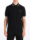 The Best Streetwear Brands Urban Style and Mens Fashion Fred perry Twin Tipped Polo Shirt in Black and Glacier Front