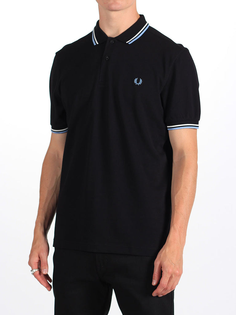 The Best Streetwear Brands Urban Style and Mens Fashion Fred perry Twin Tipped Polo Shirt in Black and Glacier Side