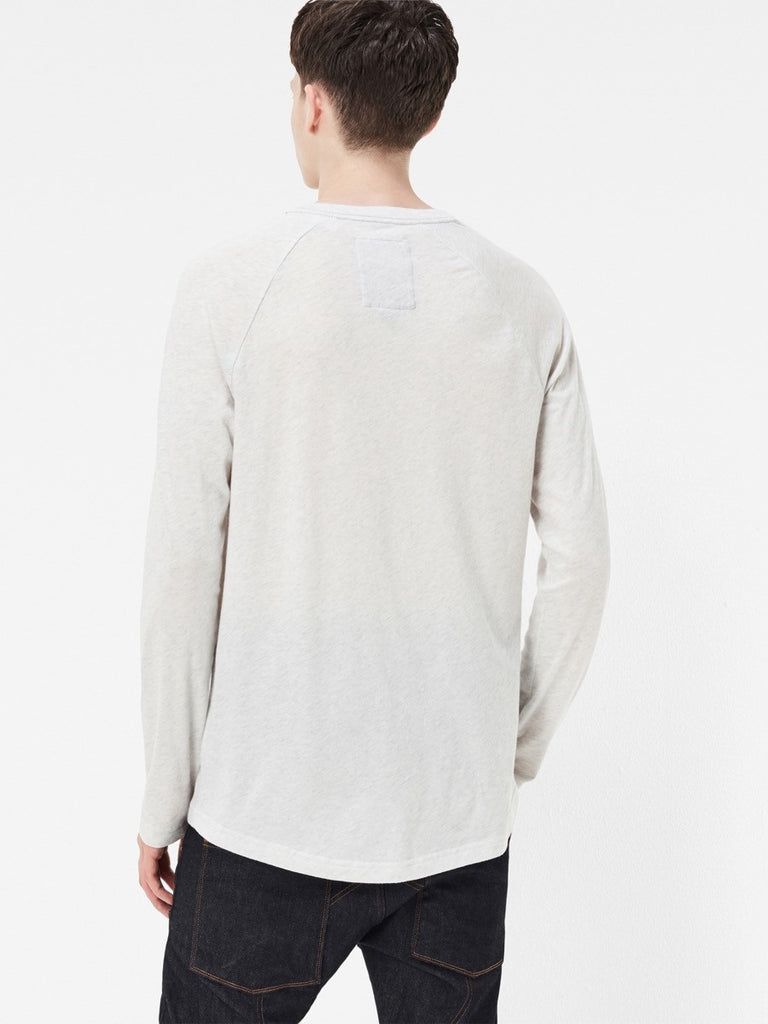 The Best Streetwear Brands and Urban Style G-Star Classic Raglan Longsleeve Tee in White Heather Back