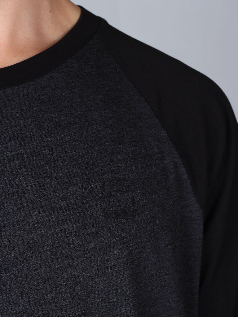 The Best Streetwear Brands and Urban Style G-Star Tarev Longsleeve T-shirt in Black and Charcoal Detail 1