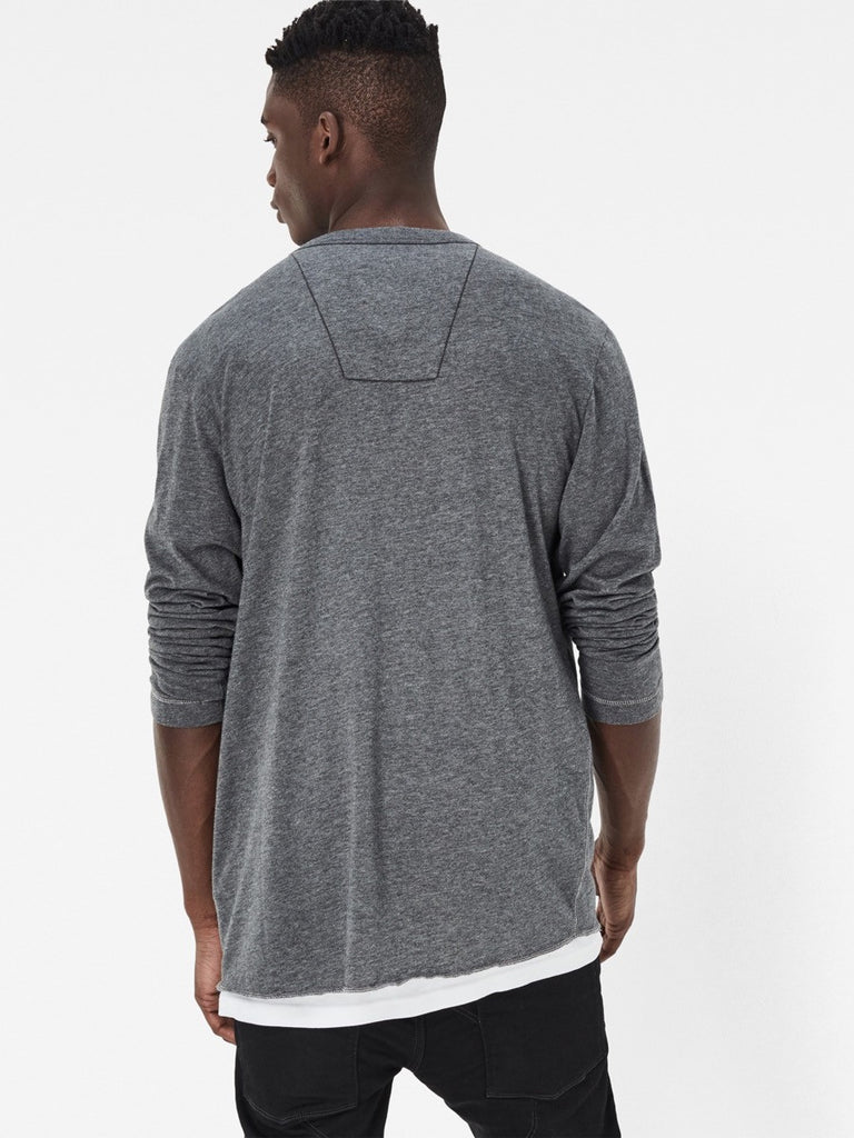 The Best Streetwear Brands and Urban Style G-Star lassic Granddad Longsleeve Henley in Grey Heather Back
