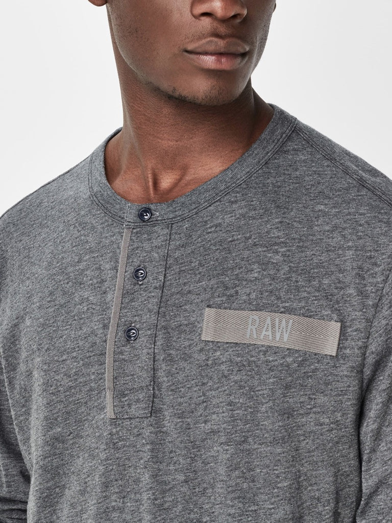 The Best Streetwear Brands and Urban Style G-Star lassic Granddad Longsleeve Henley in Grey Heather Detail 1