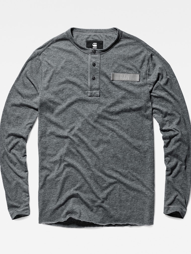 The Best Streetwear Brands and Urban Style G-Star lassic Granddad Longsleeve Henley in Grey Heather Flat