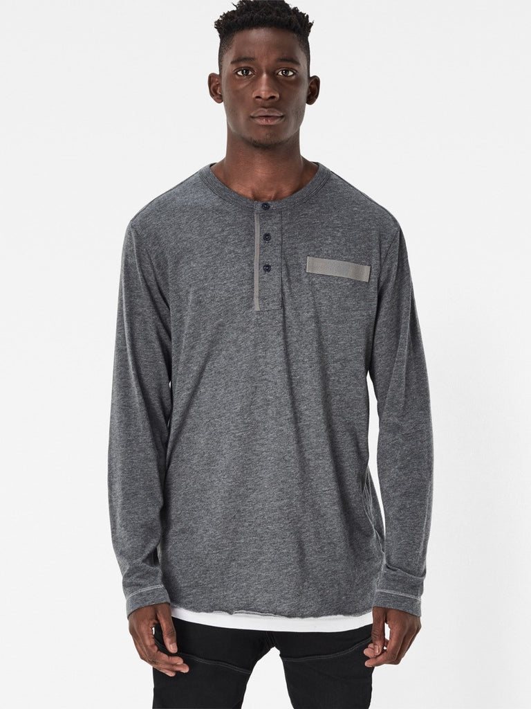 The Best Streetwear Brands and Urban Style G-Star lassic Granddad Longsleeve Henley in Grey Heather Front