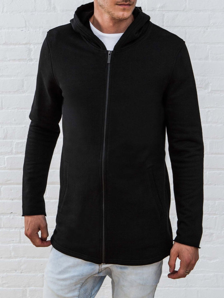 The Best Streetwear Brands and Urban Style Vitaly Fishtail Hoodie in Black Front Closed