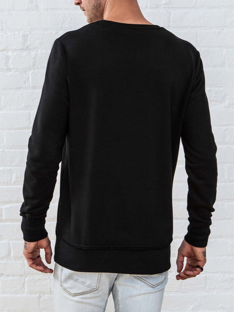 The Best Streetwear Brands and Urban Style Vitaly New Crew Sweatshirt in Black Back