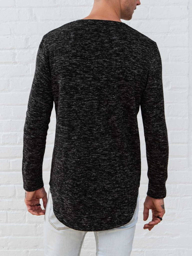 The Best Streetwear Brands and Urban Style Vitaly Scooped Sweater in Static Black Back