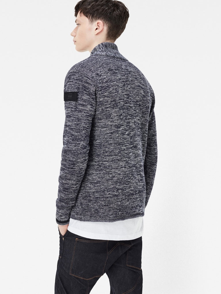 The Best Streetwear brands for the Best Dressed Men G-Star Dadin Shawl Collar Knit Sweater in Tench Blue & Ivory Back