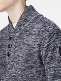 The Best Streetwear brands for the Best Dressed Men G-Star Dadin Shawl Collar Knit Sweater in Tench Blue & Ivory Detail 1