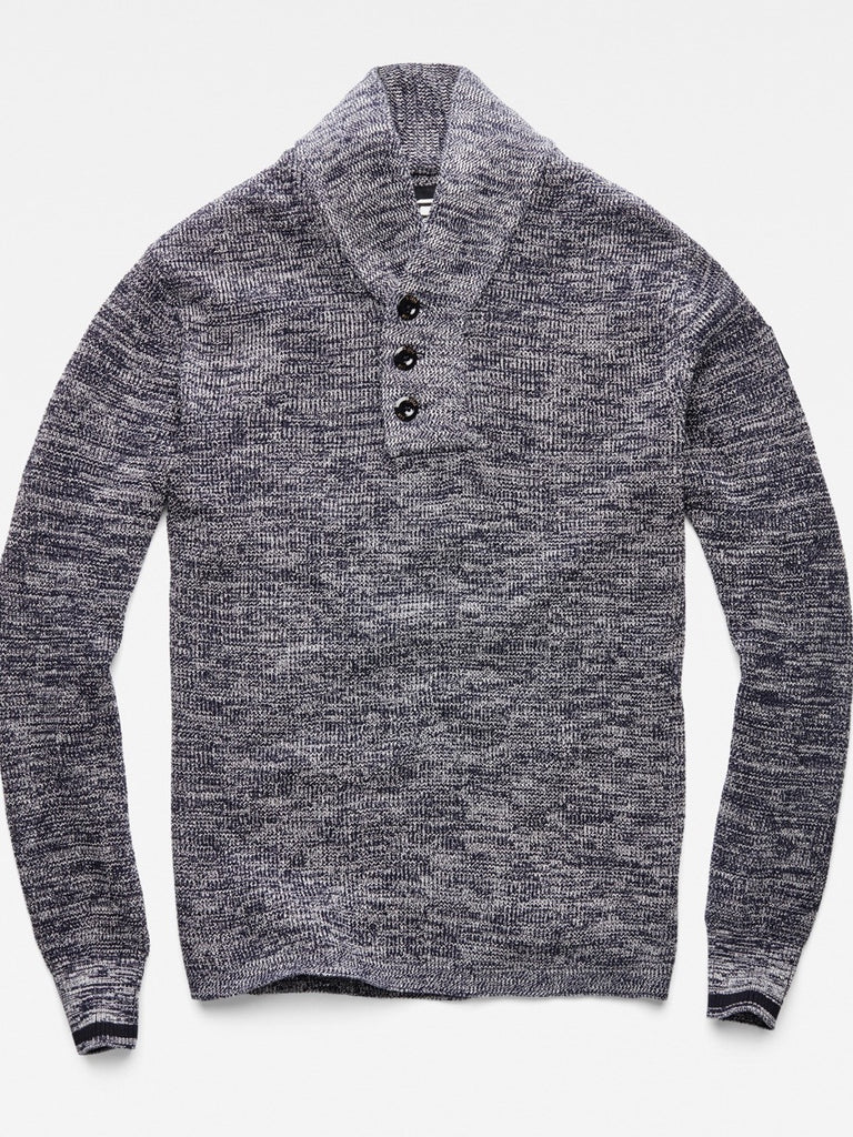 The Best Streetwear brands for the Best Dressed Men G-Star Dadin Shawl Collar Knit Sweater in Tench Blue & Ivory Flat
