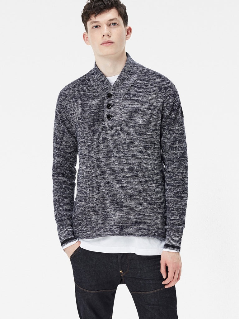 The Best Streetwear brands for the Best Dressed Men G-Star Dadin Shawl Collar Knit Sweater in Tench Blue & Ivory Front