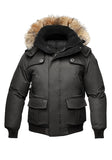 The Best Styles of Jackets and Urban Style Nobis Cartel Down Fur-lined Hooded Bomber Jacket in Black Crosshatch