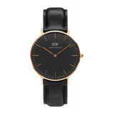 The best watch that matches smart casual and business attire for men daniel wellington classic black sheffield watch with rose gold case