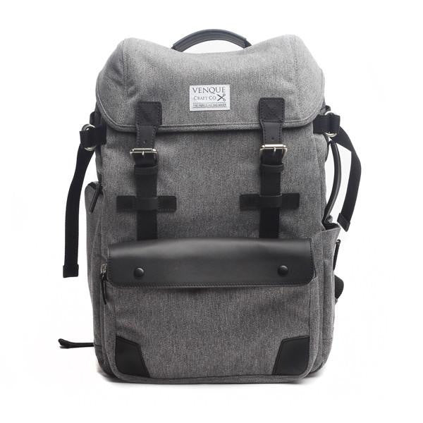 The biggest selection of backpacks satchels and murses in vancouver venque alpine rucksack in grey with black leather front