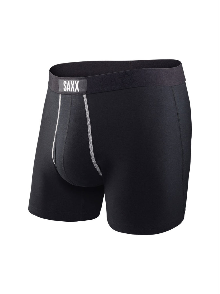 The most comfortable underwear in the world with ballpark pouch technology saxx underwear co 24seven boxer briefs in black front view