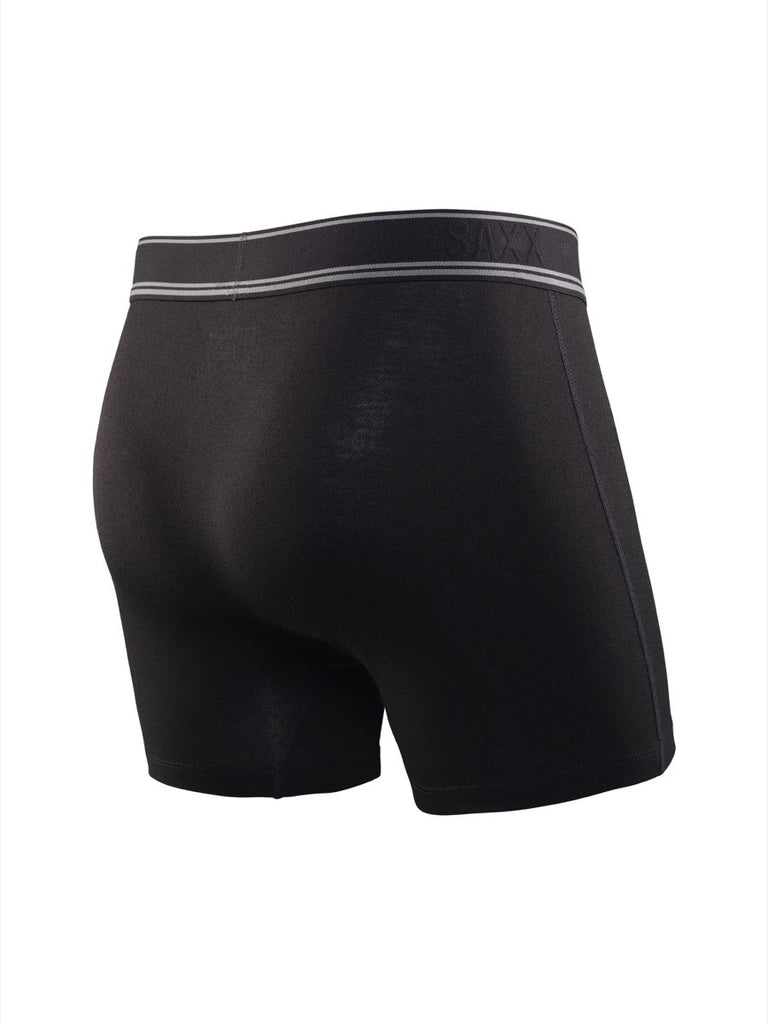 The most comfortable underwear in the world with ballpark pouch technology saxx underwear co black sheep boxer briefs in black back view