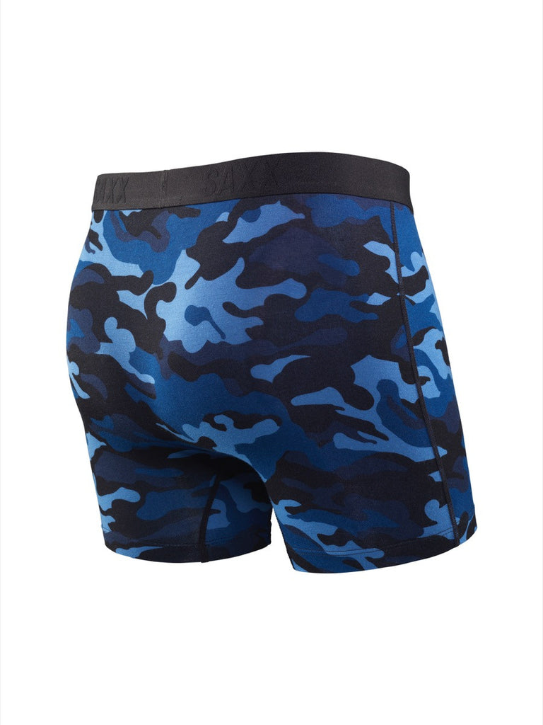 The most comfortable underwear in the world with ballpark pouch technology saxx underwear co vibe boxer briefs in blue camouflage back view