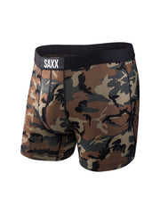 The most comfortable underwear in the world with ballpark pouch technology saxx underwear co vibe boxer briefs in woodland camo front view