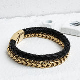 modern style jewelry industrial design streetwear urban style vitaly tzu double bracelet in black and gold alternate angle