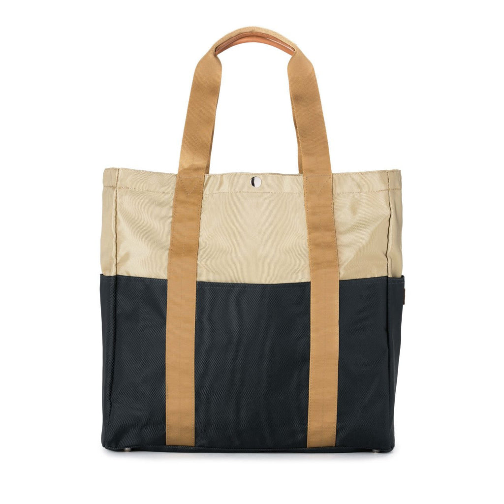 Taikan Sherpa Tote Bag in Beige/Navy/Yellow  - 1